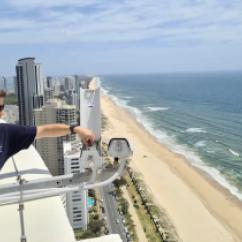 2021 Chris Drummond installing Coastal Imaging cameras. Photo Matt Blacka UNSW WRL