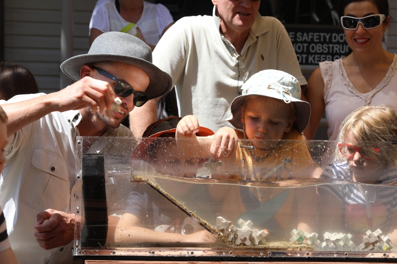Jamie Ruprecht inspiring the next generation with the interactive mini flume