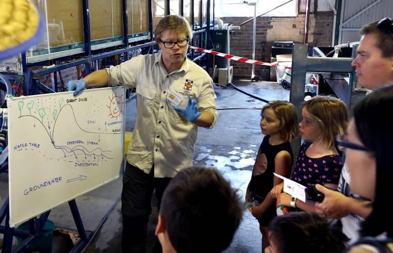 Associate Professor Martin Andersen teaching kids about groundwater