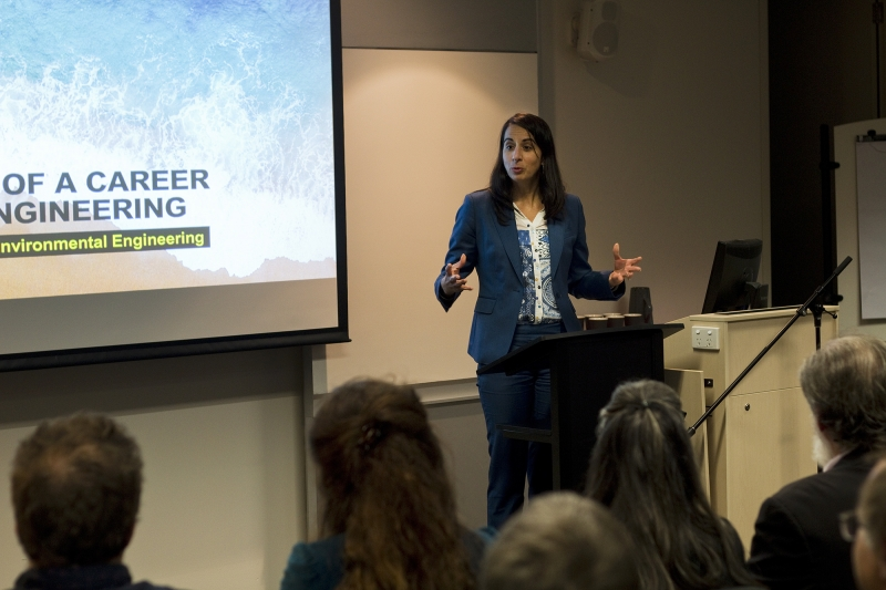 NSW Ports CEO Ms Marika Calfas, presenting at the 'Celebration of a Career in Coastal Engineering' event