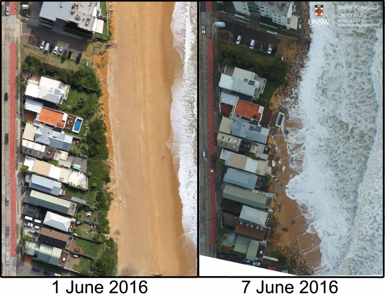 Pre and post UAV (drone) surveys at the section of Collaroy Beach hardest hit by the June 2016 East Coast Low.